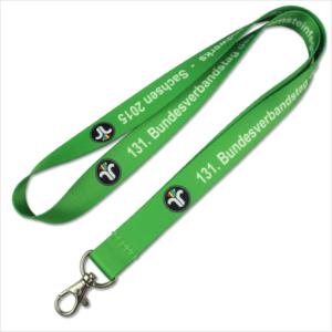 Green printed logo horizontal name badge lanyards