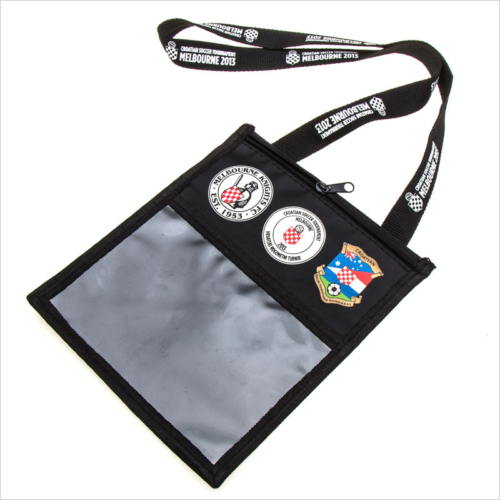 Polyester imprinted ticket lanyard pouch