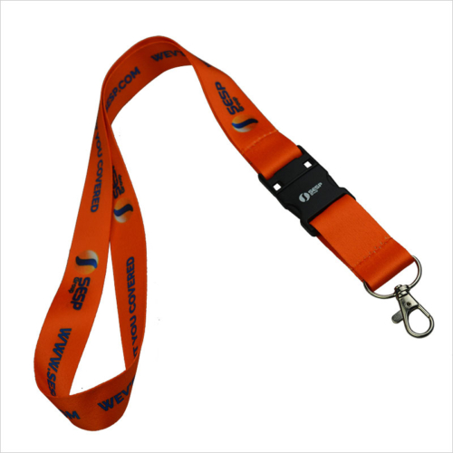 Orange imprinted USB flash drive lanyard