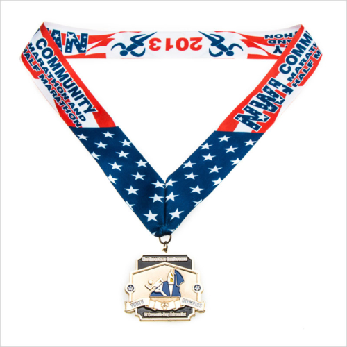 Wholesales custom medal with ribbon
