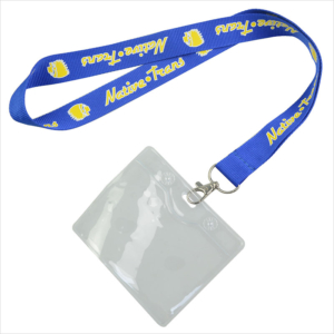 Horizontal clear plastic name tag lanyards